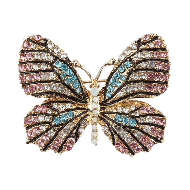 Multi-Color Crystal Butterfly Brooch Pin - color 12 - Brooches