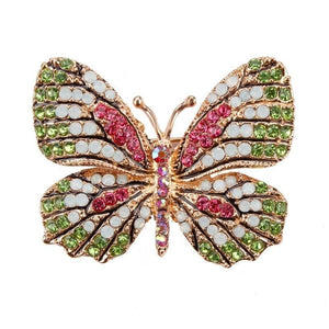 Multi-Color Crystal Butterfly Brooch Pin - color 2 - Brooches
