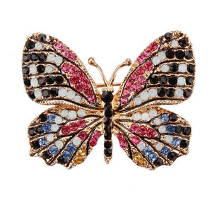 Multi-Color Crystal Butterfly Brooch Pin - color 3 - Brooches