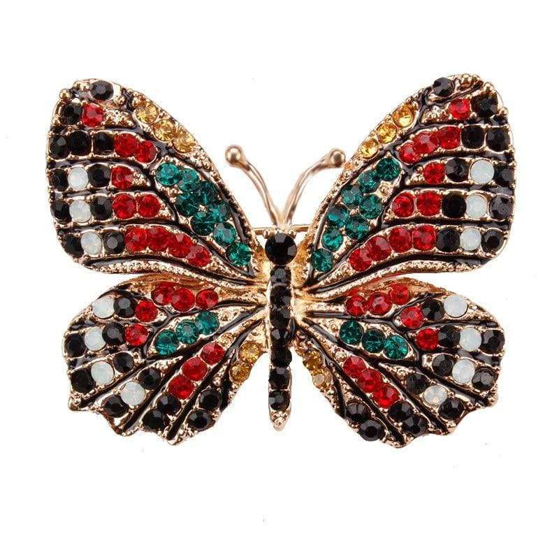 Multi-Color Crystal Butterfly Brooch Pin - color 4 - Brooches