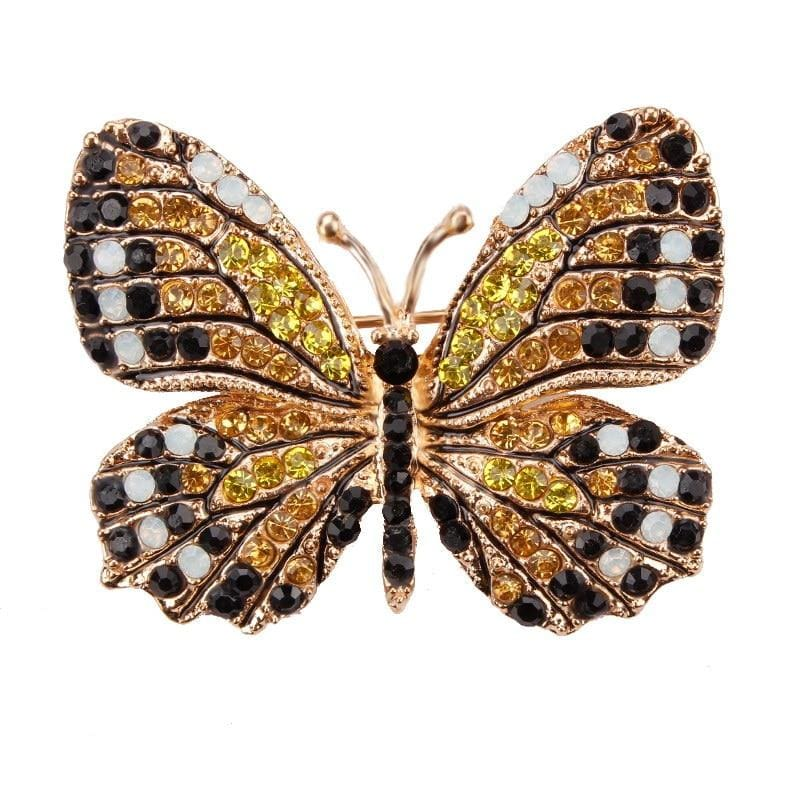 Multi-Color Crystal Butterfly Brooch Pin - color 5 - Brooches