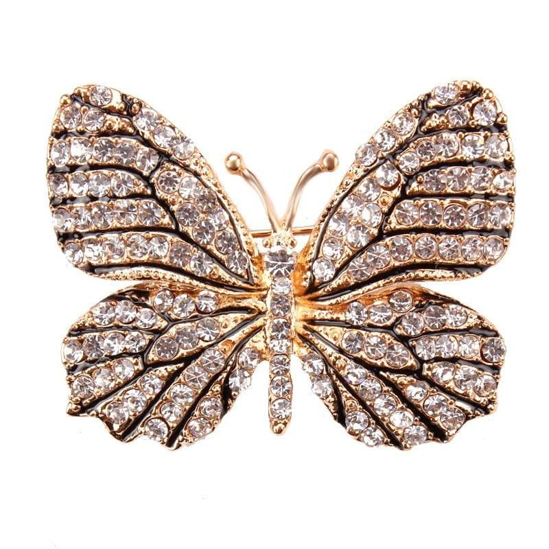Multi-Color Crystal Butterfly Brooch Pin - color 6 - Brooches