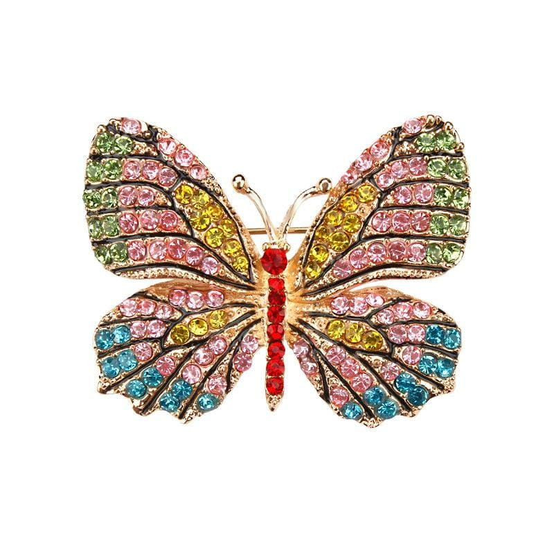Multi-Color Crystal Butterfly Brooch Pin - color 7 - Brooches