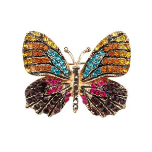 Multi-Color Crystal Butterfly Brooch Pin - color 8 - Brooches