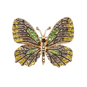 Multi-Color Crystal Butterfly Brooch Pin - color 9 - Brooches