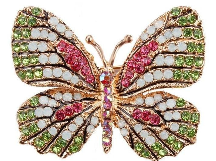 Multi-Color Crystal Butterfly Brooch Pin - Brooches