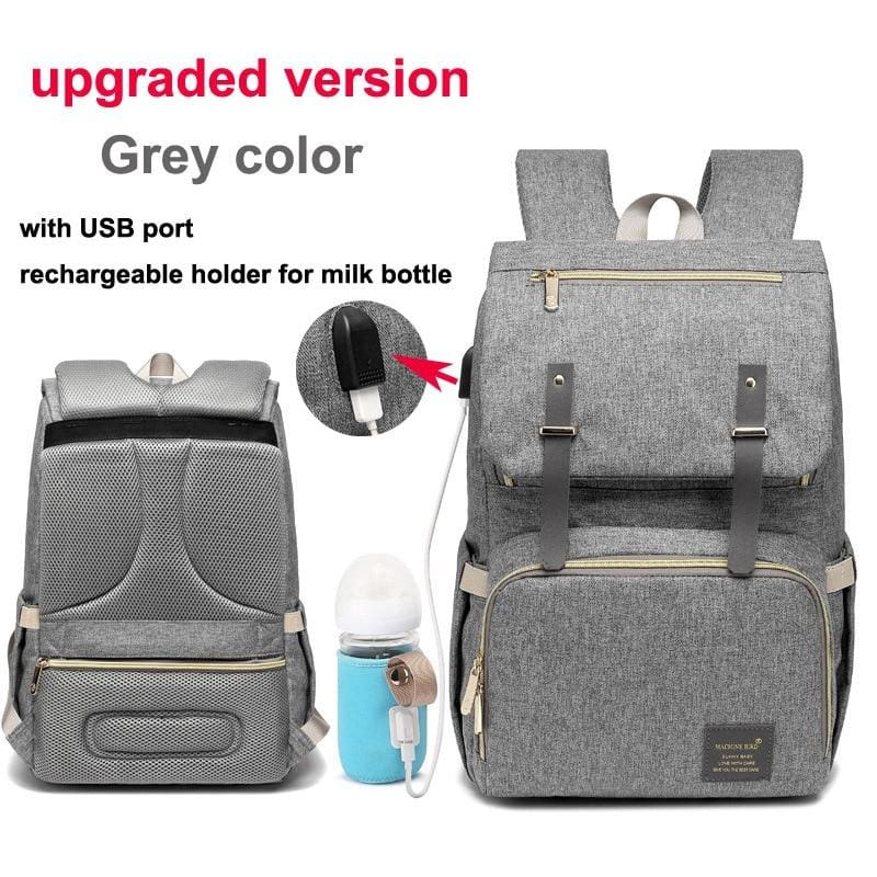 Multi-Function Diaper Bag - grey upgraded versio - Diaper Bags