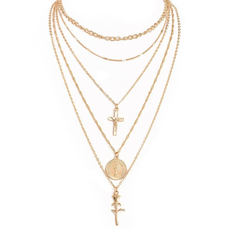 Multiple Layers Cross Necklaces - Gold-color - Pendant Necklaces