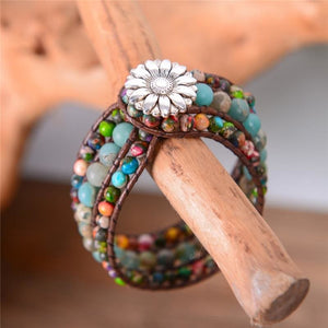 Natural Stone Boho Three Layer Bracelet - Wrap Bracelets