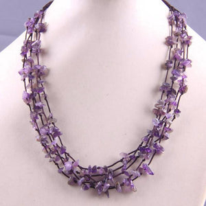 Natural Stone GEM Chip Handmade Necklace - Amethyst - Chain Necklaces