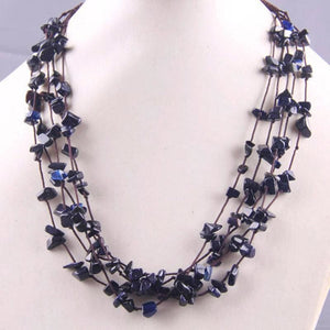 Natural Stone GEM Chip Handmade Necklace - Blue Sandstone - Chain Necklaces