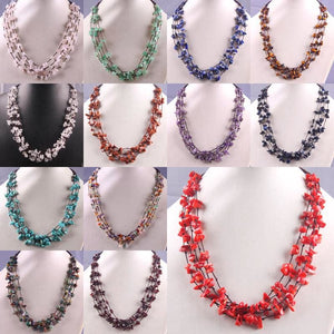Natural Stone GEM Chip Handmade Necklace - Chain Necklaces
