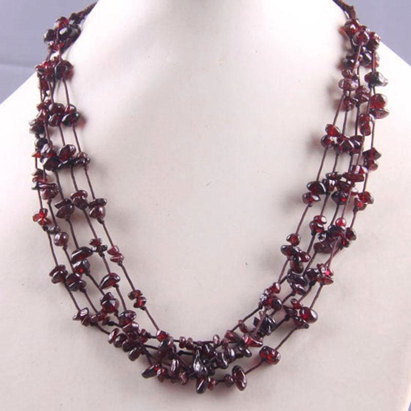 Natural Stone GEM Chip Handmade Necklace - Garnet - Chain Necklaces