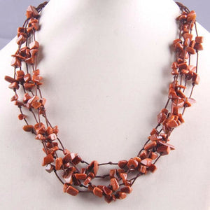 Natural Stone GEM Chip Handmade Necklace - Golden Sandstone - Chain Necklaces