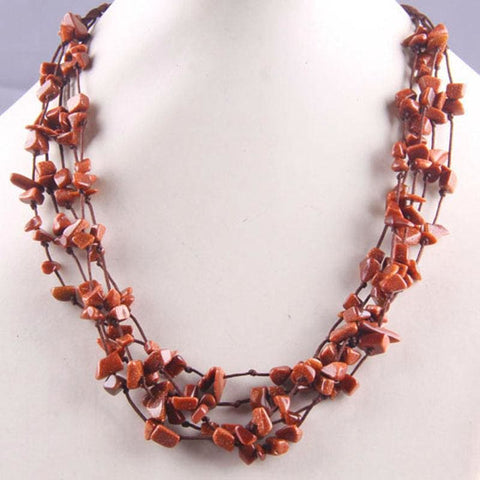 Natural Stone GEM Chip Handmade Necklace