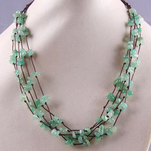 Natural Stone GEM Chip Handmade Necklace - Green Aventurine - Chain Necklaces