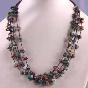 Natural Stone GEM Chip Handmade Necklace - India Agate - Chain Necklaces