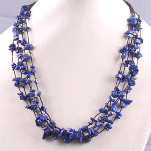 Natural Stone GEM Chip Handmade Necklace - Lapis - Chain Necklaces