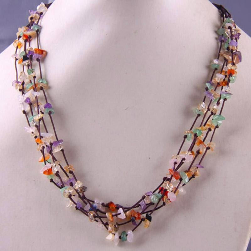 Natural Stone GEM Chip Handmade Necklace - Mixed Stone - Chain Necklaces