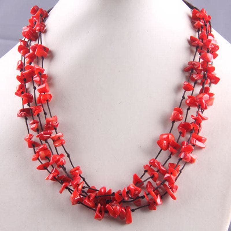 Natural Stone GEM Chip Handmade Necklace - Red Coral - Chain Necklaces