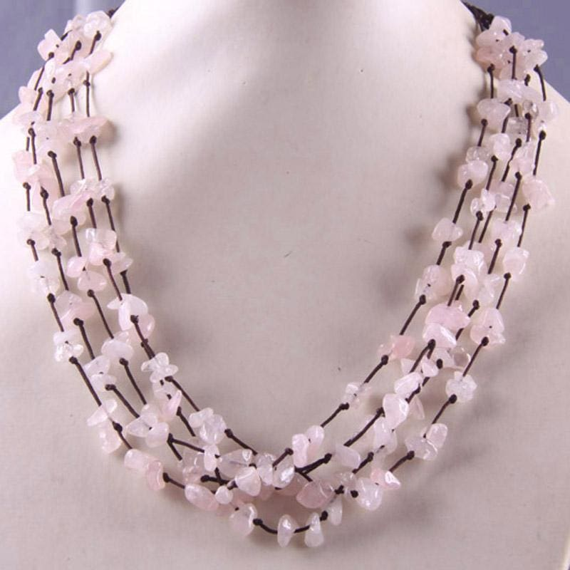 Natural Stone GEM Chip Handmade Necklace - Rose Quartz - Chain Necklaces