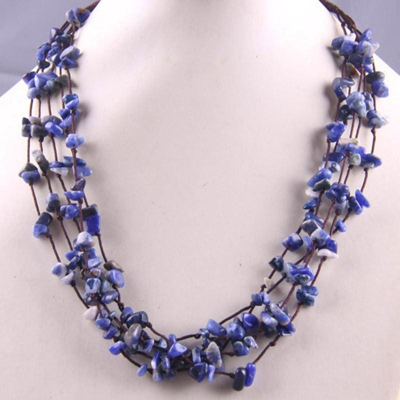 Natural Stone GEM Chip Handmade Necklace - Sodalite - Chain Necklaces