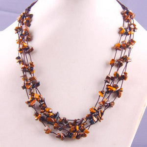 Natural Stone GEM Chip Handmade Necklace - Tigereye - Chain Necklaces