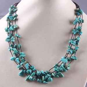 Natural Stone GEM Chip Handmade Necklace - Turquoise - Chain Necklaces