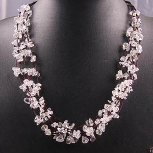 Natural Stone GEM Chip Handmade Necklace - White Crystal - Chain Necklaces