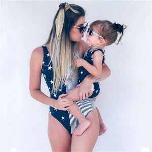 Navy Blue Stars Mom and Daughter matching swimwear - Mother S - Matching Family Outfits