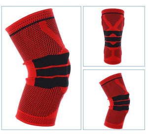 Nylon Silicon Knee Sleeve - Red / L - Elbow & Knee Pads