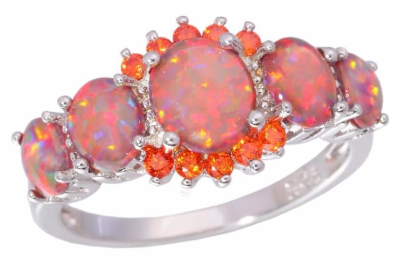 Orange Fire Opal Ring - 10 - Engagement Rings
