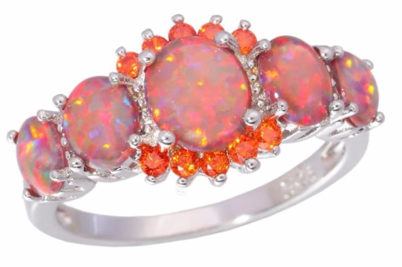 Orange Fire Opal Ring - Engagement Rings