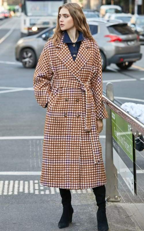 Overcoat Plaid Cinched Waist Just For You - Burnt caramel / L - Women Coat
