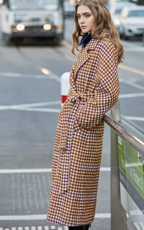 Overcoat Plaid Cinched Waist Just For You - Burnt caramel / M - Women Coat