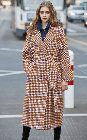 Overcoat Plaid Cinched Waist Just For You - Burnt caramel / S - Women Coat