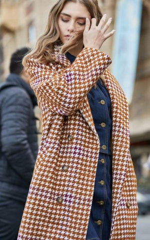 Overcoat Plaid Cinched Waist Just For You - Burnt caramel / XL - Women Coat