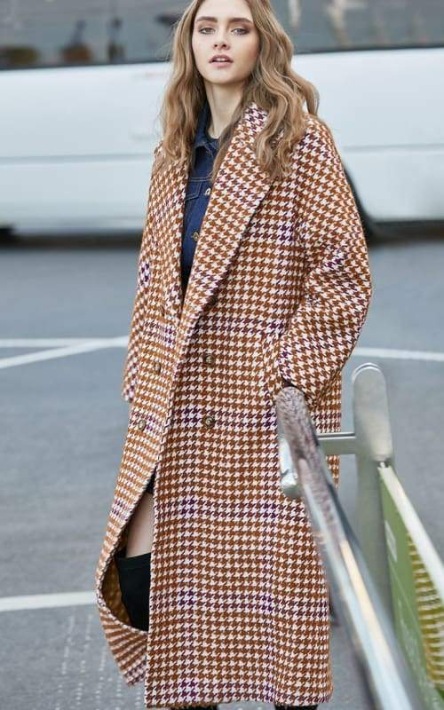 Overcoat Plaid Cinched Waist Just For You - Burnt caramel / XS - Women Coat