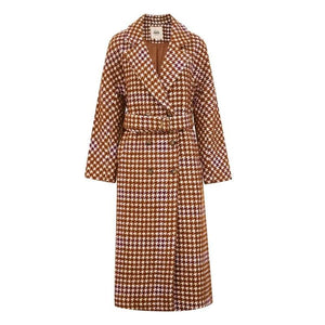Overcoat Plaid Cinched Waist Just For You - Women Coat