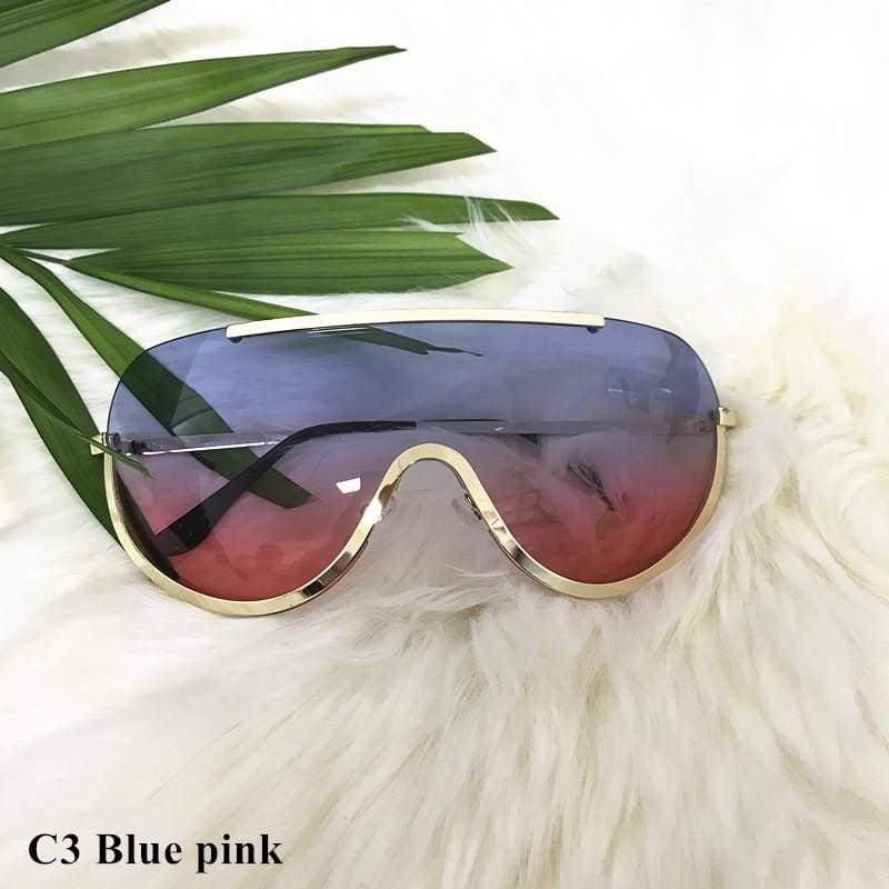 Oversized Shield Aviator Shades - c3 blue pink - Sunglasses