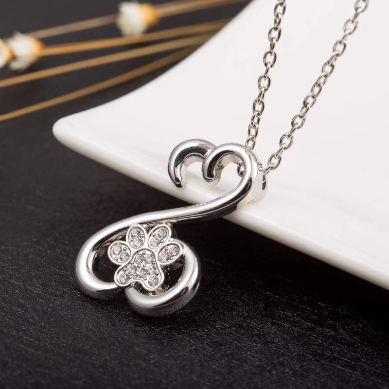 Paw heart shaped pendant - Silver Pendant - Pendant Necklaces