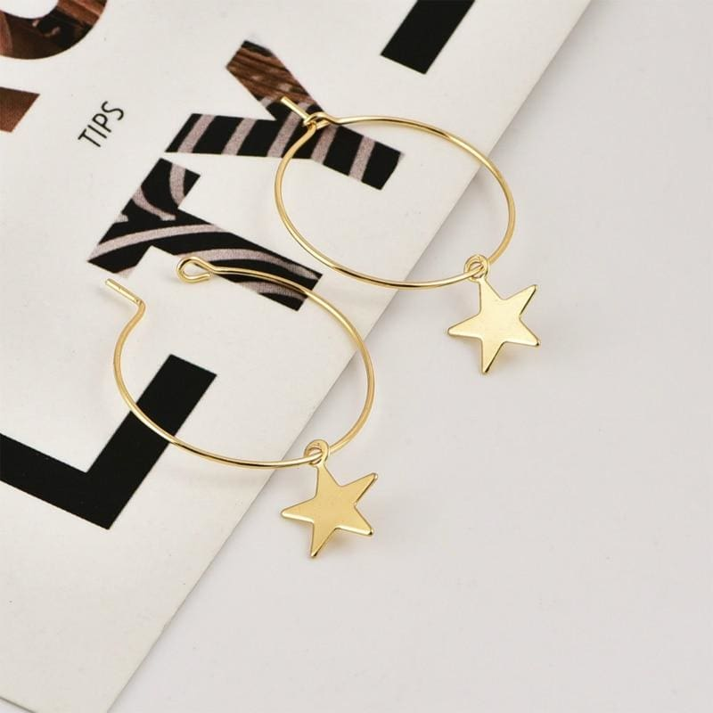 Pentagram Ear Rings - Hoop Earrings