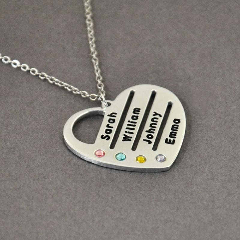 Personalized Birthstones Necklace Heart Name Pendant. - Silver Color / 20 inches - Pendant Necklaces