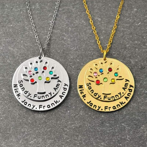 Personalized Family Tree Pendant Necklace with Birthstones.