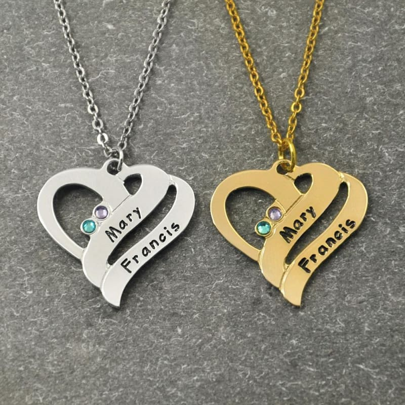 Personalized Heart Name Necklace with Birthstone - Gold color / 16 inches - Pendant Necklaces
