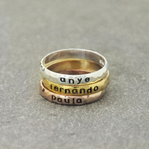 Personalized Stackable Name Ring.