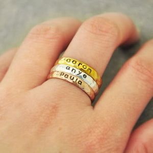 Personalized Stackable Name Ring. - Wedding Bands