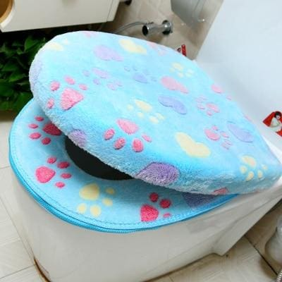 Plush Toilet Cover Just For You - blue set - Toilet Seat Covers