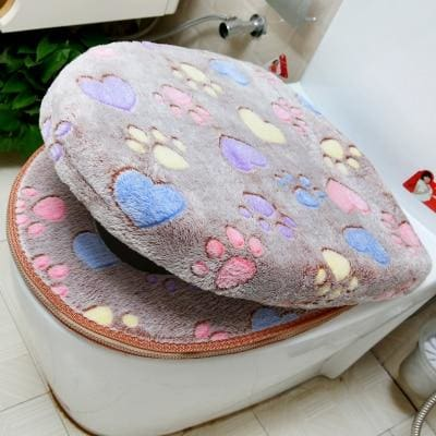 Plush Toilet Cover Just For You - coffee set - Toilet Seat Covers