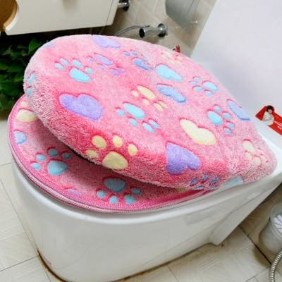 Plush Toilet Cover Just For You - pink set - Toilet Seat Covers